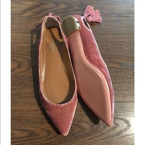 AQUAZZURA Forever Marilyn Tassel Bow Velvet Flats